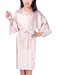 Hammia Niños Niña Robe Satin Vestido de niña de Las Flores Albornoz de Seda para niños Color Puro Robe Albornoz Ropa de Dormir SPA natación cumpleaños