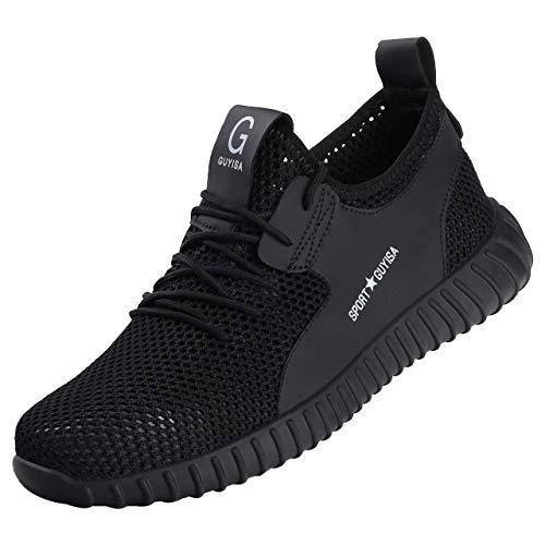DYKHMILY Zapatillas de Seguridad Hombre Mujer Trabajo con Puntera de Acero Calzado de Trabajo para Comodas Zapatos de Industria y Construcción(Negro Oscuro,45 EU)