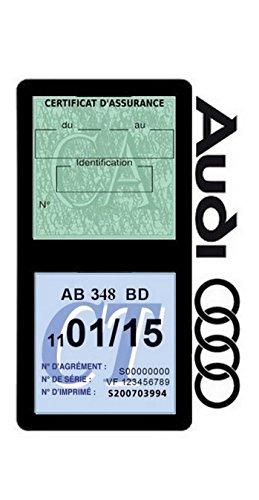 Générique Etui Double Assurance Audi Porte Vignette adhésif Voiture Stickers Auto rétro (Noir)