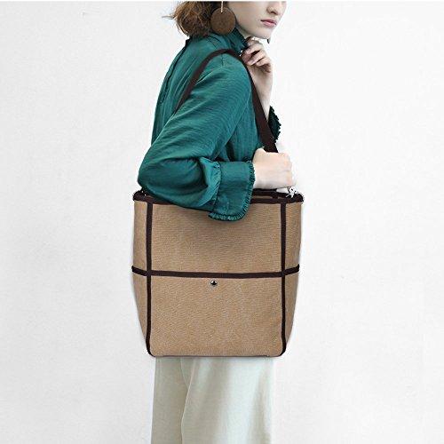 S-ZONE Sacchetto di spalla di Tote della borsa casuale della borsa della spalla della tela di canapa delle donne di S-ZONE (grigio) Marrone