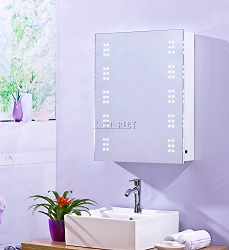 FoxHunter 1 Door Wall Mount LED Illuminated Mirror Bathroom Cabinet Unit Storage Cupboard Steel With Shelf Sensor Demister Shaver Socket White New MC04