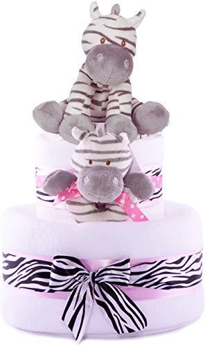 3Tier diseño de niñas de diseño de cebra rosa-tarta de pañales para bebé regalo cesta-Entrega...