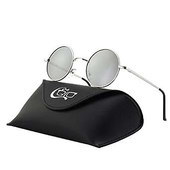CGID E01 Occhiali da Sole Uomo e Donna Piccoli Retro Vintage Stile Lennon Rotondi Circolari in Metallo Tondi