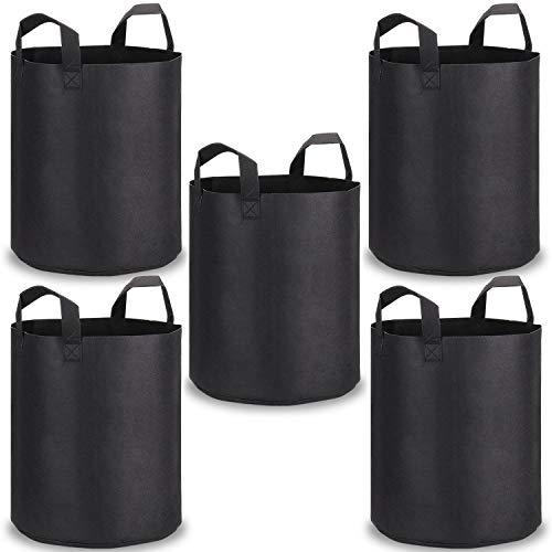 PEYOU Pflanzentasche [5-Stück] 45L/10 Gallonen, Atmungsaktiv Weichseitiger Vliesstofftöpfe mit Riemengriffen für Gärtnerei und Wachsen der Pflanzung, Beste Wurzelbehandlung Pflanzsack,Schwarz