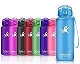 KollyKolla Botella de Agua Deportes, Botellas Sin BPA Tritan Plástico Reutilizables Ecológica con Filtro, Water Bottle para Niños, Gimnasio, Yoga, Oficina, Senderismo, Viajes, (500ml Azul Mate)