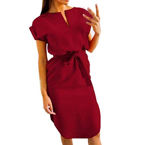 KaloryWee Kleider Damen Casual Sommer Damen Short Sleeve V Neck Abend Party Kleid, Wein, Label Size S