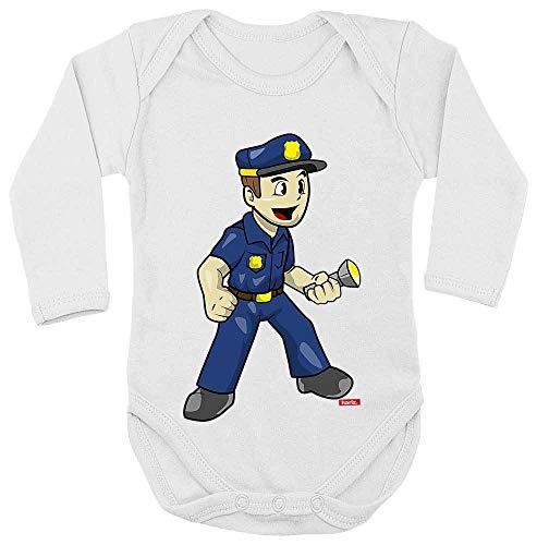 Kleinkind Pilot Kostüm - HARIZ Baby Body Langarm Polizist Witzig Taschenlampe Polizei Witizg Inkl. Geschenk Karte Milchzahn Weiß 62-68