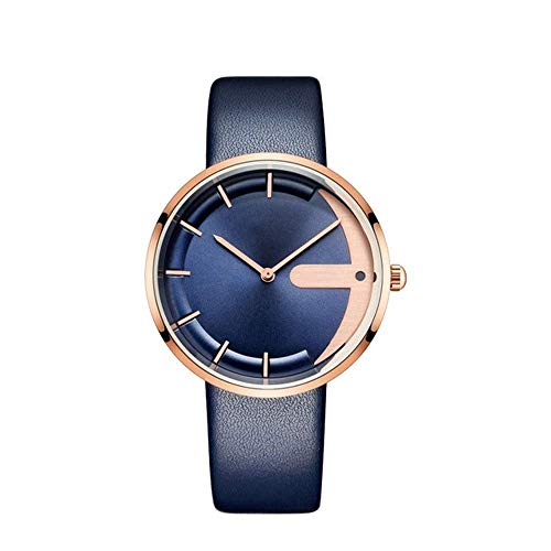 SODAA Herren Herren Quarzuhr, Ultradünn - 40mm Lederband - Casual Fashion Waterproof - 3 ATM Blue -