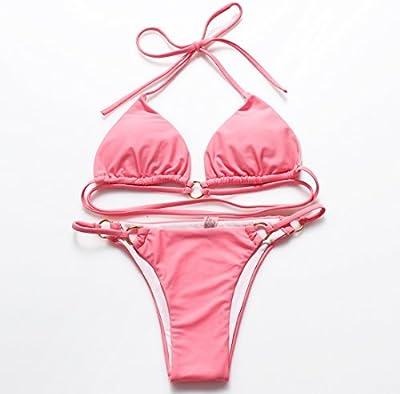 YONGYI Ultra Hot Spring split bikini color sólido / leopardo sello playa damas traje de baño