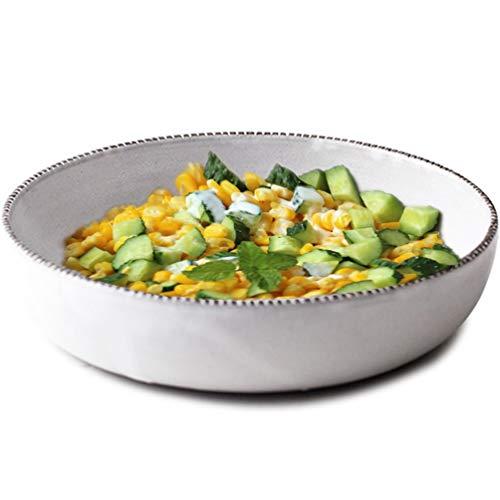 Bols Petit Déjeuner Premium Bol peu profond en grès, blanc 1L Creative Assiette creuse pour assiette creuse Assiette pour boulettes grande capacité Salade de fruits Gravée Assiette creuse pour Ramen B