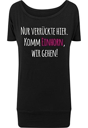 femmes viscose T-shirt viscose TEE-SHIRT Femmes Licorne seulement Fou Ici , viens Licorne, nous aller Noir