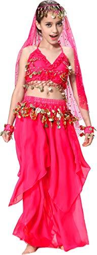 Bauchtänzerin Kinderkostüm Bollywood Kostüm Mädchen Faschings-Kostüme Gelbrot 140 146