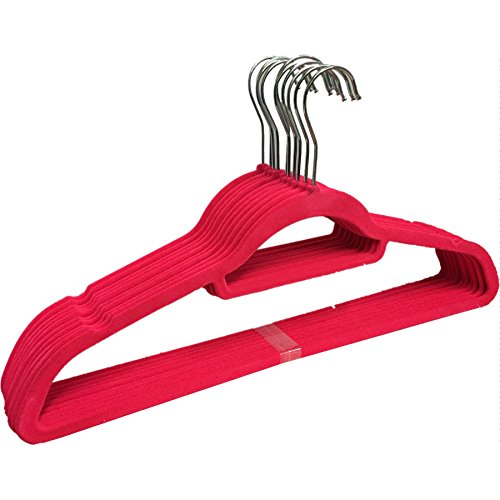 TheBigShip ® grucce antiscivolo, salvaspazio, Rosa, 1 X Pack Of 10 Hangers