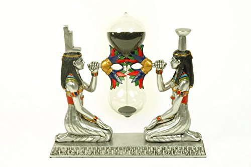 Egyptian Isis Decorative Figure with Built-in Sandglass. Resin sculpture. 17 x 5 x 16 cm.