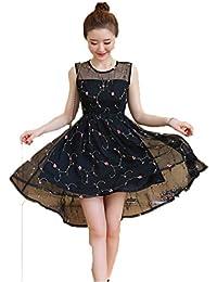 JRhong Eleganti Tulle Giuntura Abiti Senza Maniche Stampate Sottogonna  Ricamati Asimmetrico Vestito cd3afb4e453