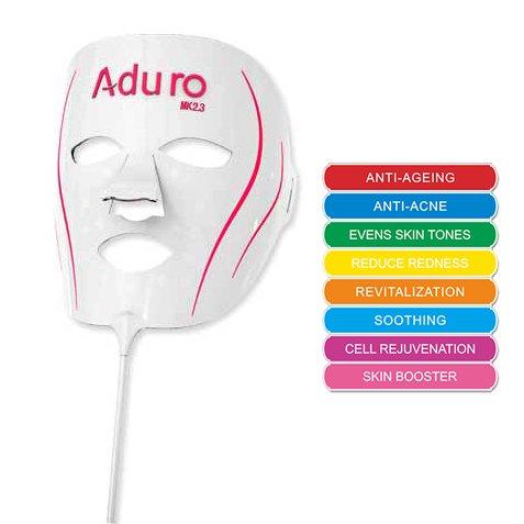 Aduro LED Gesichtsmaske 7 + 1, Lichtmaske mit 7 Einstellungen für Anti-Aging, Anti-Akne, Evens Haut Töne, Reduzieren Rötung, Revitalisierung, Glättung, Zellverjüngung, Skin Booster, Lichttechnik Patentierte Konturleuchte Gesichtsmaske,