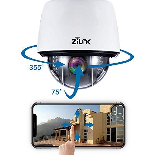 ZILNK WLAN IP Dome Kamera Outdoor 2MP, 1080P Wireless PTZ Überwachungskamera Aussen, Schwenken/Neigen/5x Optischer Zoom, Zwei-Wege-Audio,Nachtsicht,Wasserdicht,Bewegungswarnung, Max. 128 GB SD-Karte