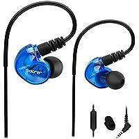Adorer Auriculares deportivos con cable, RX6 Bajos Estéreo Auriculares con Micrófono, reducción de ruido para iPhone, Android, 3.5mm Jack - Azul
