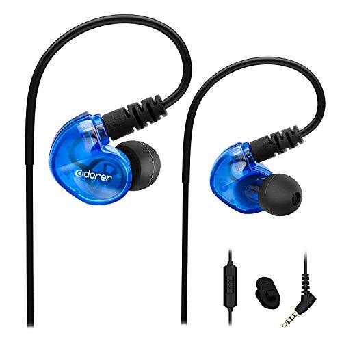 Adorer Auriculares deportivos con cable, RX6 Bajos Estéreo Auriculares con Micrófono, reducción de ruido para iPhone, Android, 3.5mm Jack   Azul