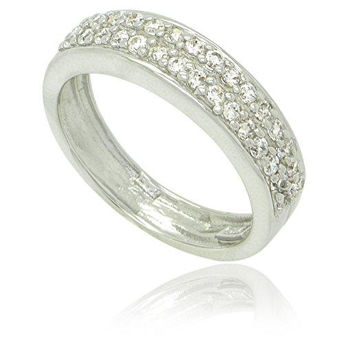 In argento sterling placcato al rodio e zirconia cubica pavé due fila half-around anello Band-5 - 5 Row Band Ring