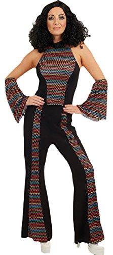 Karnevalsbud - Damen Disco Diva Funky Queen Karneval Komplett Kostüm , Mehrfarbig, Größe L (Jazz Diva Kostüm)