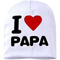 ZengBuks Los niños Los niños Imprimen de Punto I Love Mama Baby Hat Algodón Unisex Baby Cap Letter Kids Hat por 0-3 años - Blanco