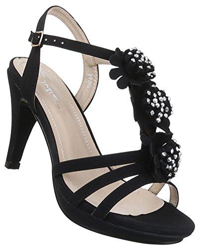 Damen Sandaletten Schuhe Riemchen High Heels Stiletto Abendschuhe Business Club Pumps schwarz blau pink beige weiss 36 37 38 39 40 41 Schwarz