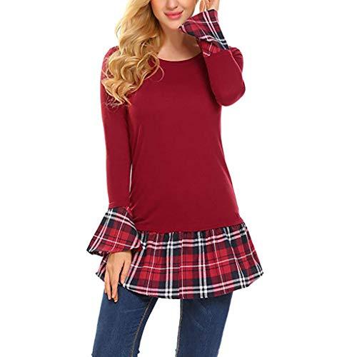 Toasye Damen Casual Rüschen Saum Tunika Glocke Plaid Print Bluse Dressy Tops Shirts