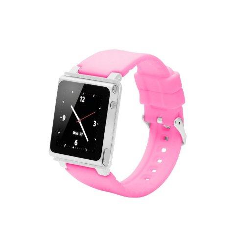ZSTX Breit einstellbares Sport Uhrenarmband für Ipod Nano 6.Generation,Aluminiumgehäuse,Silikongürtel,Ipod Nano 6th Watch Band,Handschlaufe für iPod Nano 6G(OEM)(Rosa)