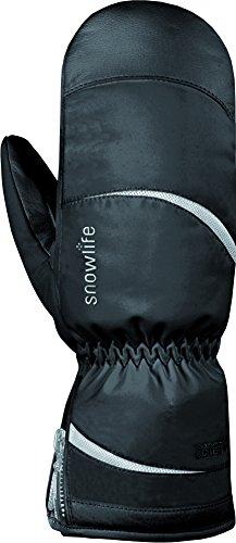 Snowlife Skihandschuhe Snowboardhandschuhe Damen extra warm mit GORE-TEX Membrane, PRIMALOFT Füllung und Soft Shell ideal für den Wintersport Prima GTX Mitten, schwarz/silber, L/M