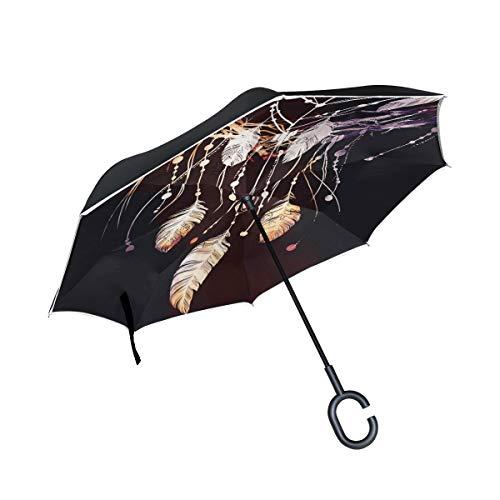 CPYang Paraguas invertido atrapasueños Boho Pluma Doble Capa Paraguas Reflectante Resistente al Viento para Coche al Aire Libre Viaje