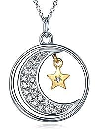 Beydodo Collar Luna Estrella Collar Plata de Ley 925 de Mujer Collar I Love You to