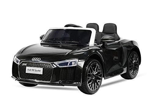 Nitro Motors Kinder Elektro Auto Audi R8 Spyder 2x35W 2x6V Elektroauto Kinderfahrzeug Ferngesteuert Elektro (Schwarz)