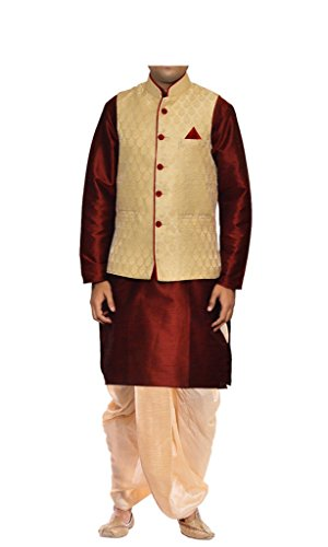 Mag Men's Red Kurta Gold Dhoti With Gold Jacket (RG-5733-38)