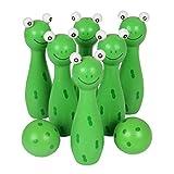 Mamum Bowling-Set aus Holz, Cartoon-Stil, Tiermotive, Spielzeug für Kinder, für Spaß und Sport im Freien Einheitsgröße grün