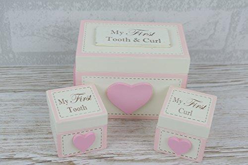 Preisvergleich Produktbild Aufbewahrungsbox mit Herz für den ersten Zahn und die erste Locke als Andenken,  Set mit 3 Stück,  Rosa (in englischer Sprache)