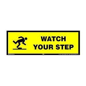 Mr. Safe Watch your Step Sign PVC Sticker 12 Inch X 4 Inch