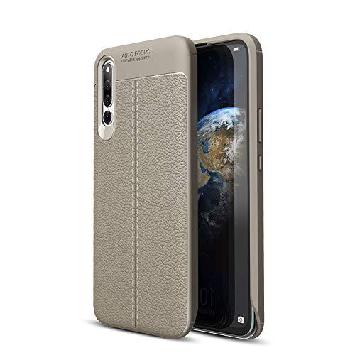 "Huawei Honor Magic 2 Cover, Ultra Slim Morbido TPU Silicone Gel Bumper Custodia Litchi Copertura Protezione per Huawei Honor Magic 2 (6.39"") (Huawei Honor Magic 2, Grigio)"