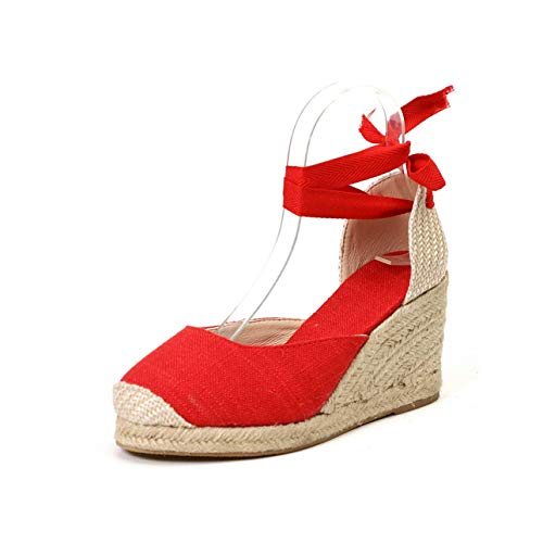 2019 Hot Wedges Sandals Bohemia Woman Sandals Summer Shoes Women Platform Sandals Lace Up Chunky High Heels Sandalias Mujer 43 Red 4.5 -