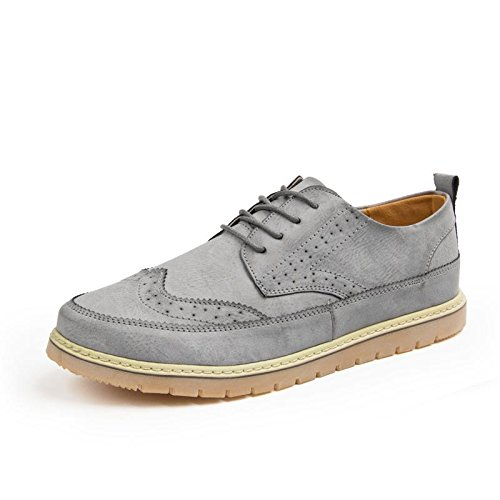Mens British Style High Quality Soft Leather Oxfords Shoes Gray 017