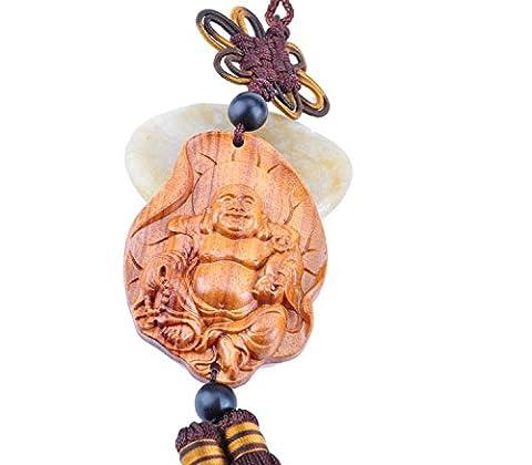 MZP Palisander Blatt lächelnd Buddha Anhänger Auto kreative kleine Geschenke Talismane Auto Schlüsselring hängen verbunden