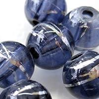 50pièces 6mm Étirer Perles de verre–Noir–A3236