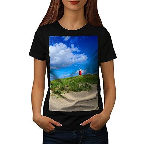 Ocean Light Tower Nature View Women Black M T-shirt | Wellcoda