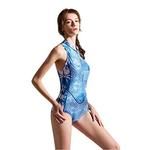 SUNFANY Damen Rash Guard Surfanzug Sleeveless UV Offener Rücken Bedruckter Reißverschluss Surfen Badeanzug Sommer Badeanzug(Mehrfarbig,M)