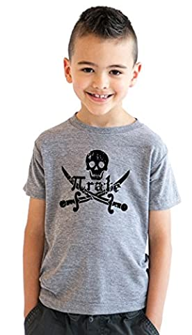 Crazy Dog TShirts - Kids' Pirate Skull and Crossbones Math Pi-Rate T-Shirt Funny Youth Shirt (Grey) XL -