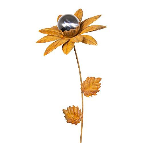 CIM Rost Gartenstecker - Edelrost Blume Mirror Narzisse S - Abmessung: 18x18x91cm - oxidierter Stahl, polierte Edelstahl-Kugel - inkl. 2-zackiger Bodenverankerung