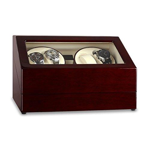 Klarstein Old Marshall - Uhrenbeweger, Uhrendreher, Uhrenkasten, 10 Uhren Kapazität, 2 Drehtribünen,2 Aufnahmen, Links-Rechts-Lauf, vorprogrammierte Bewegungs-Modi, Sichtfenster, braun-weiß