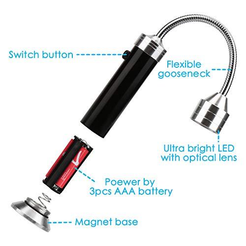 416XebNYb L - Mitening Grill Licht, 2 Stück Magnetische Grilllampe LED BBQ Licht Set Outdoor Lampen Grill Lichter Lampe BBQ Zubehör für Grillen im Freien, Batteriebetrieben, 360 Grad Drehwinkel (Schwarz)