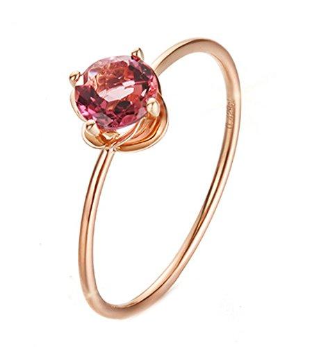 Epinki 18K Gold Ringe,0.5Ct Rundschliff Zertifiziert Diamant Rose Turmalin Ringe Diamantring Verlobungsring für Damen Gr.53 (16.9)