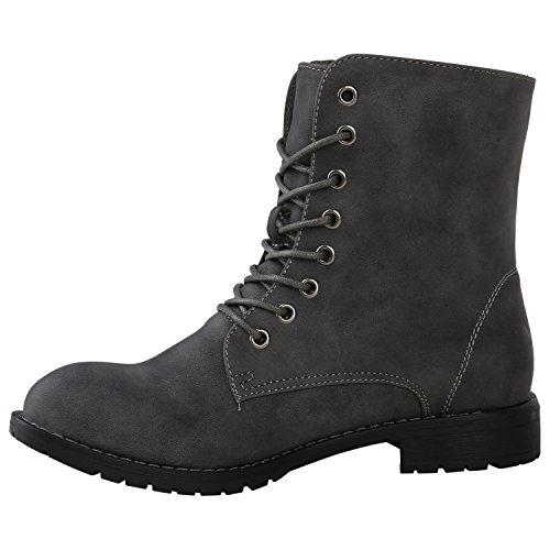 Stiefelparadies Damen Schnürstiefeletten Zipper Nieten Schuhe Strass Schnürschuhe Boots Coole Leder-Optik Schnürer Flandell Grau Autol